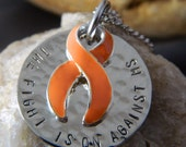 The Fight is on Against MS Awareness Necklace w/ Orange Ribbon