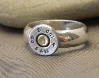 Sterling Silver Bullet Shell Riveted Ring