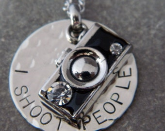 I Shoot People Camera Necklace or Keychain