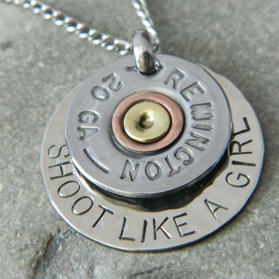 Shoot Like a Girl Bullet Necklace