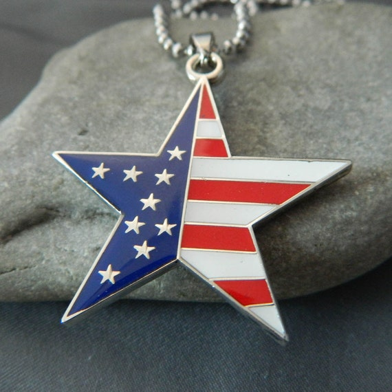 Enameled Flag Star Necklace