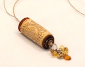 Upcycled Wine Cork Handmade Hemp Necklace with Beads Charms