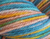 SALE Peach and Sky Hand painted worsted weight Peruvian Highland wool