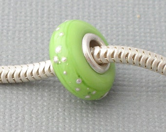 Green Silver Cored Lampwork Bead