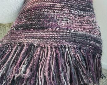Plum Aubergine Hand Knit Afghan all seraons Wool Mohair