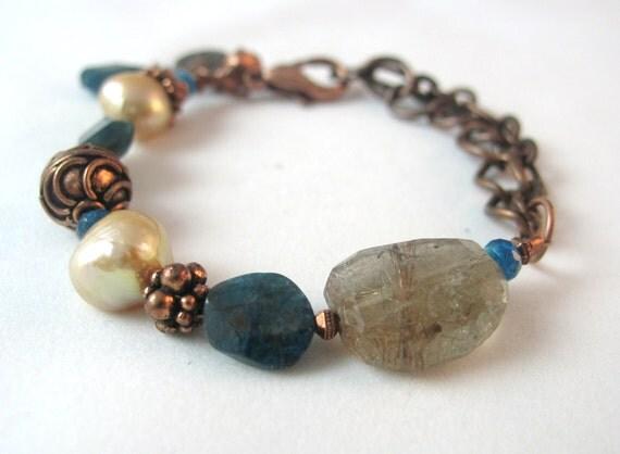 SALE! 10% OFF! - Rustic Copper Bracelet, Copper Rutilated Quartz, Apatite Bracelet, Freshwater Pearls