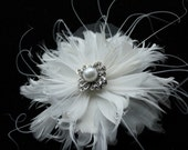 Bridal Fascinator, Ivory Feather Fascinator, Bridal Hairclip, Head Piece, Wedding - ARIEL