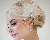Bridal Fascinator, Feather Wedding Headpiece, Feather Fascinator, Bridal Hair Accessories - CHLOE