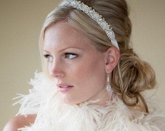 Bridal Headband, Bridal Ribbon Headband, Wedding Headpiece, Ribbon and Crystal Headband - FELECIA