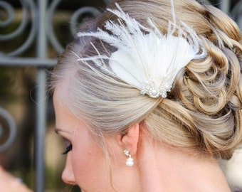 Bridal Fascinator, Bridal Headpiece, Ivory Feather Fascinator - JULIETTE
