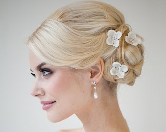 Silk Flower Hair Pins, Bridal Hair Pins, Wedding Hair Pins, Bridal Flower Hair Accessories, Wedding Hair Accessory - Adele