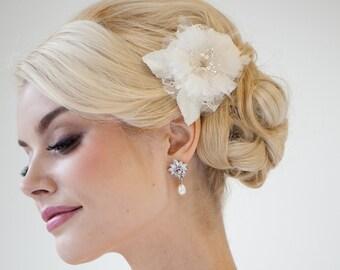 Bridal Hair Clip, Bridal Flower Hair Clip, Fascinator, Bridal Silk Flower, Bridal Headpiece -  CARMEN