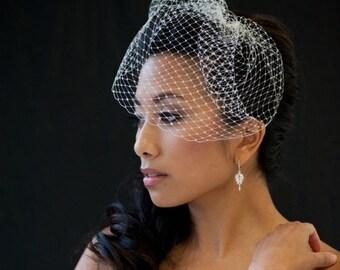 Birdcage Veil, 9 Inch Birdcage Veil, Wedding Veil, Short Birdcage Veil, Bridal Veil - KAREN