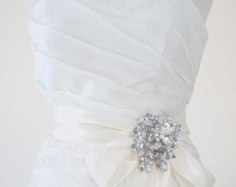 Wedding Dress Sash, Bridal Gown Sash, Crystal Brooch, Ivory Ribbon Sash