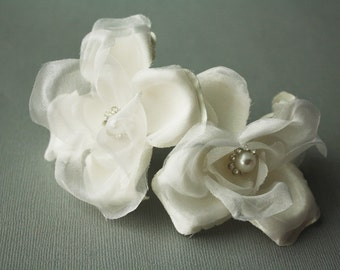 Silk Flower Hair Pins, Bridal Flower Hair Pin, Wedding Hair Accessory, Flower Fascinator