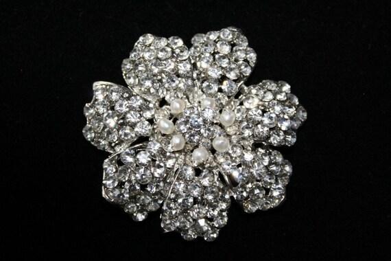 Bridal Brooch, Crystal and Freshwater Brooch, Bridal Haircomb, Head Piece, Wedding Hair Accessory