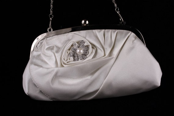 Bridal Purse, Ivory Satin Handbag, Clutch, Wedding