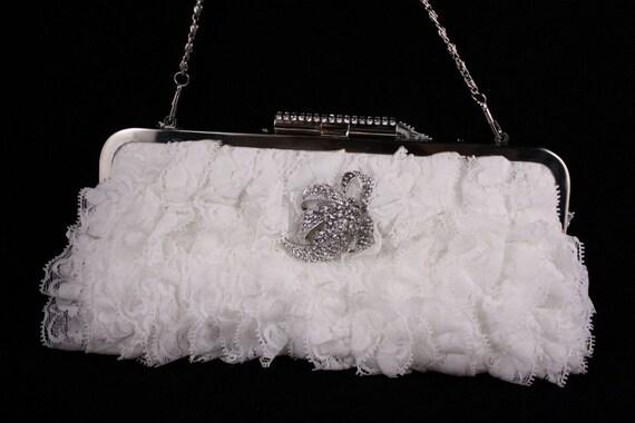 Bridal Handbag, Wedding Purse, Diamond White Lace Clutch,, White Lace Purse