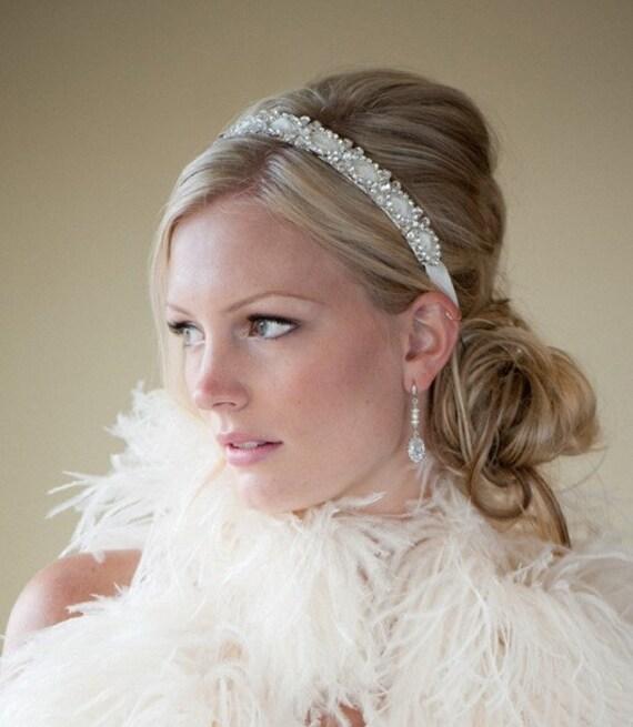 bridal headband bridal ribbon headband wedding headpiece ribbon and