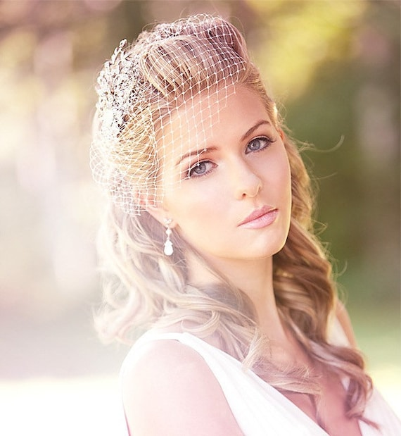 Wedding Hairstyle For Long Hair With Veil: Wedding Birdcage Veil Birdcage Veil With Swarovski