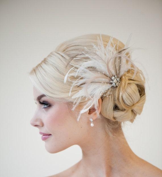 Fascinator Headpiece: Bridal Feather Fascinator Wedding Feather Headpiece Bridal