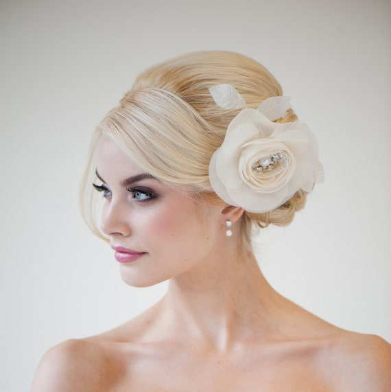Wedding Flower In Hair: Items Similar To Wedding Hair Accessory, Silk Flower Hair