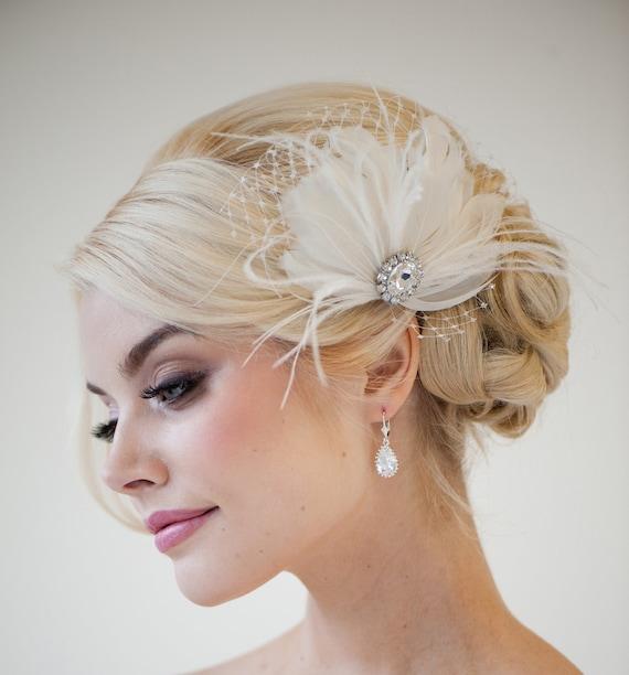 Fascinator Headpiece: Bridal Feather Fascinator Feather Wedding Headpiece Bridal
