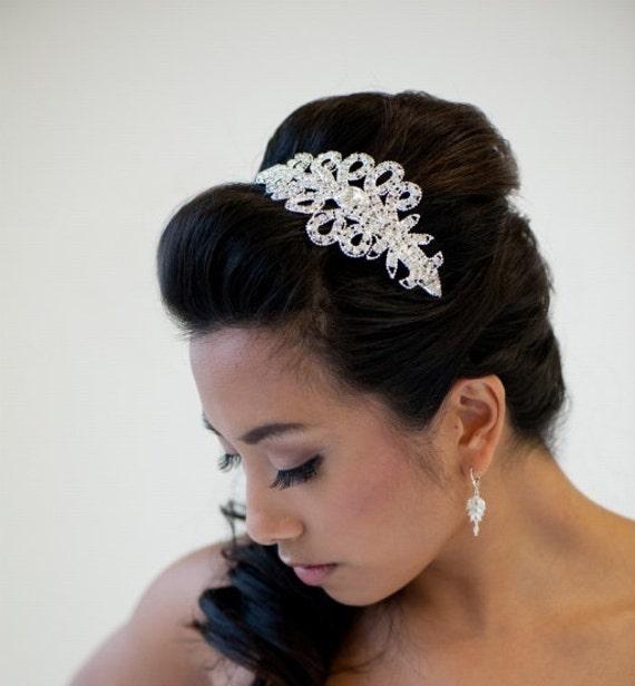 Bridal Headband, Crystal Headband, Wedding Hair Accessory, Ribbon Head