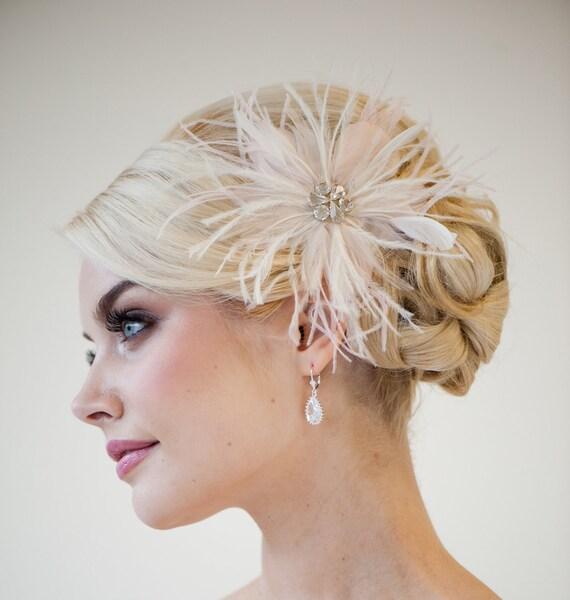 Bridal Fascinator, Blush Pink Feather Fascinator, Wedding Feather Fascinator, Bridal Headpiece - PRISCILLA