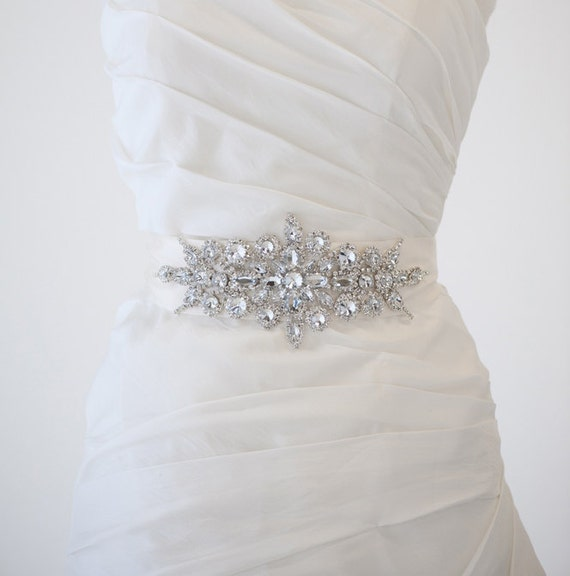 Bridal gown sash rhinestone sash wedding gown by for Rhinestone sash for wedding dress