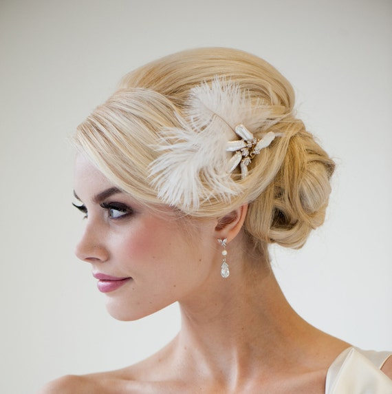 Bridal Fascinator, Wedding Hair Accessory, Ivory Feather Fascinator, Feather Fascinator - MORGAN
