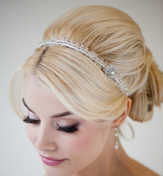 Bridal Headband, Bridal Ribbon Headband, Wedding Hair Accessory, Rhinestone Ribbon Headband - MINKA