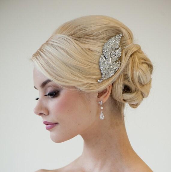 Rhinestone Bridal Hair Brooch, Wedding Hair Accessory, Large Rhinestone Hair comb