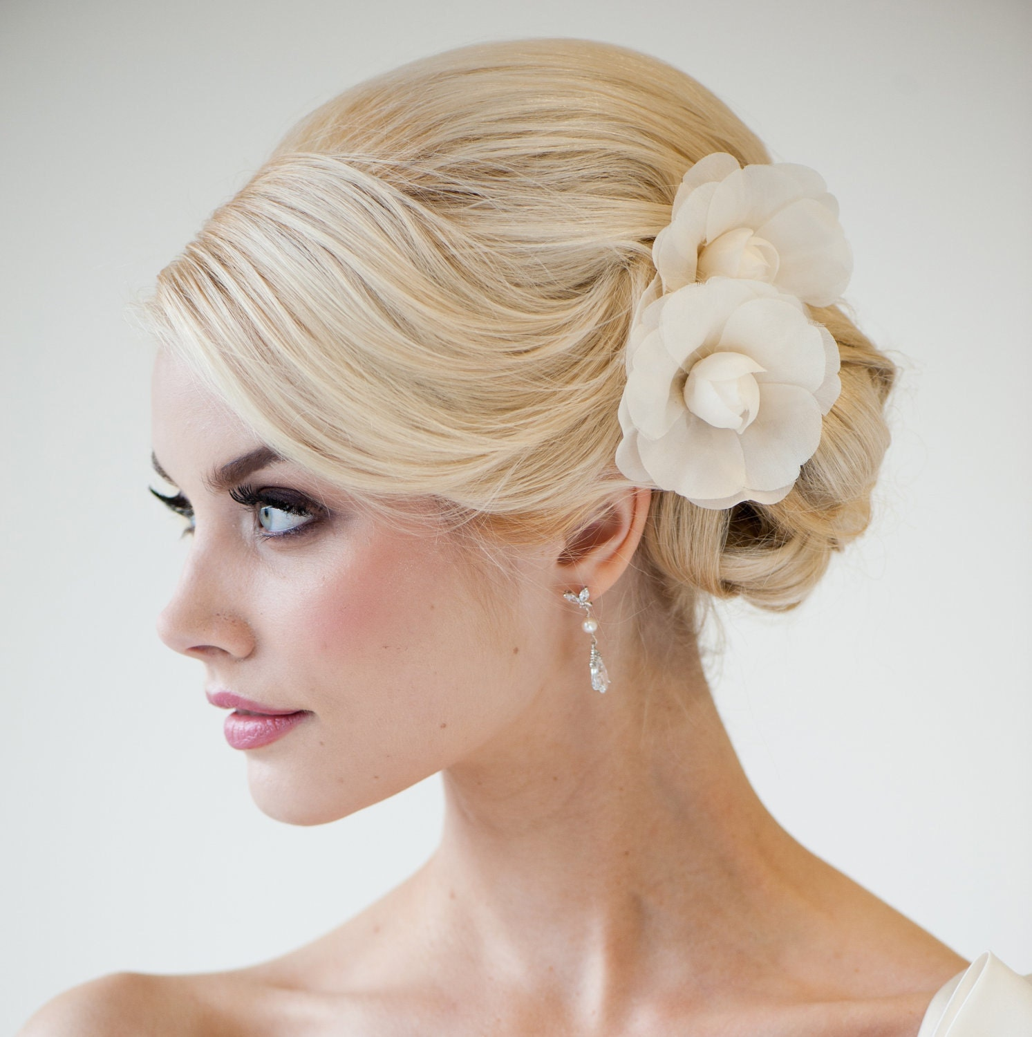 bridal flower hair clips silk camilla flowers headpiece. Black Bedroom Furniture Sets. Home Design Ideas