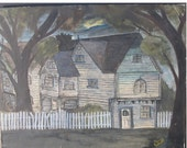 Spooky Antique OUTSIDER ART Painting of a House - Night Scene