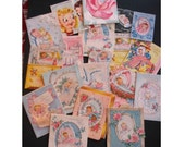 Lot of 35 NEW BABY CARDS from the 1940's for Scrap Booking, Collage, Altered Art  -- Ready to Upcycle