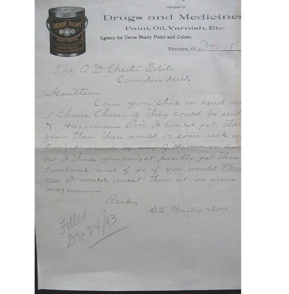 Early 1900s Antique Letter and DOCUMENT for Drugs and Medicines and Paint and Varnish
