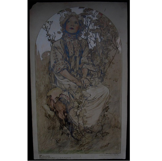 Early 1900's ART NOUVEAU Print  by Famous Artist,  A.M. Mucha