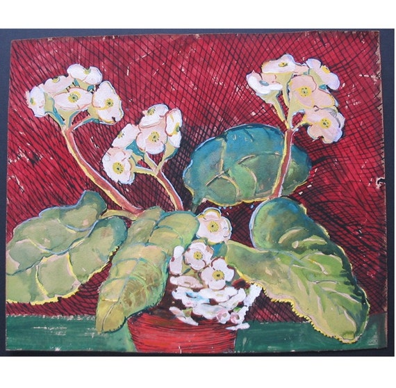 Antique OUTSIDE ART PAINTING of Flowers