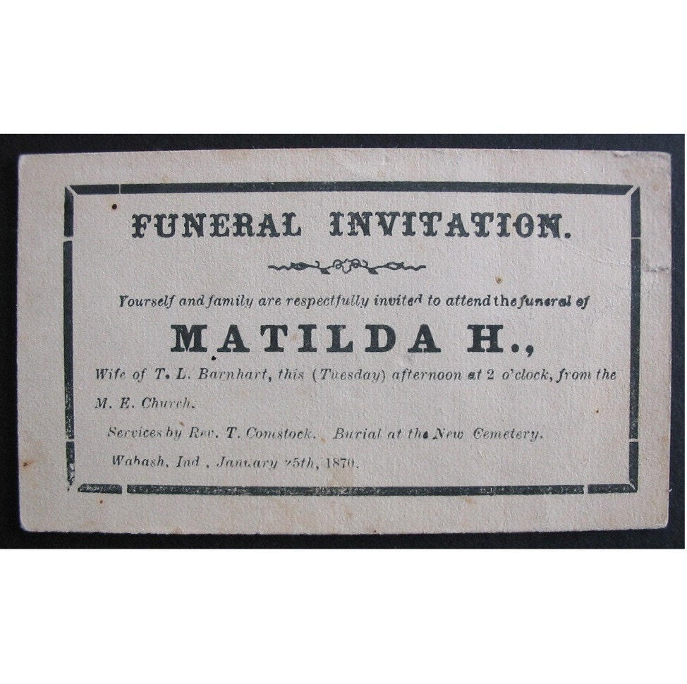 1870 FUNERAL INVITATION Oddity for Altered Art or Collecting – Funeral Invitation Cards