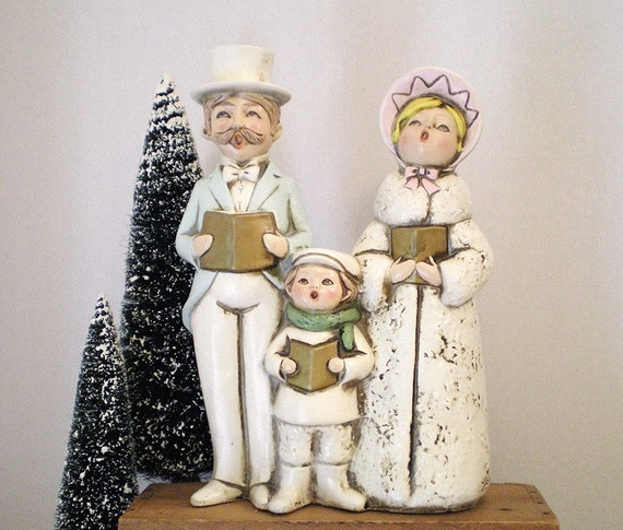 Victorian Christmas Carolers Figurines: Caroling Christmas Figurine Vintage By TheBakersDaughterToo