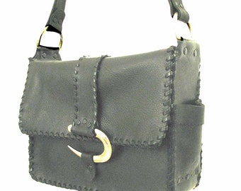 Black Leather Silver Curve 3 Pocket Shoulder Bag Handmade ON SALE