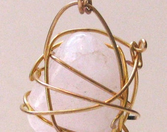 Rose Quartz Wrapped in Gold Plate Wire Cage Handmade