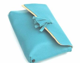 Olympian Blue Turquoise Tassel Wallet Cosmetic Case Handmade ON SALE