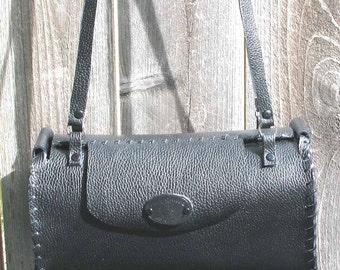 Black Leather Barrel Tote Shoulder Bag
