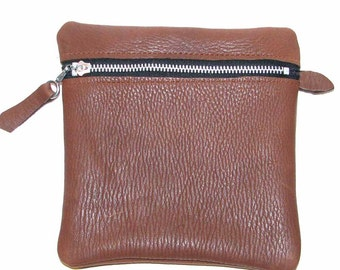 Chocolate Brown Deerskin Zipper Pouch Cosmetic Case Jewelry Pouch Free U.S. Shipping Handmade