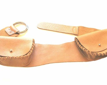Two Pocket Belt in Beige, Rust Brown or Black Leather Fits Most Handmade - Black presently unavailable