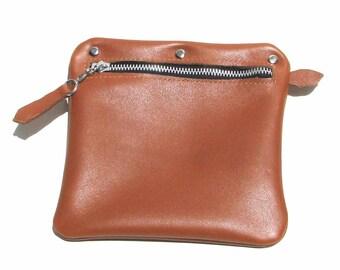 Indian Red Brown Sienna  Brown Leather Zipper Handbag Organizer Pouch Handmade