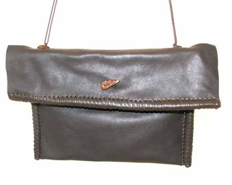 French Roast Chocolate Brown Leather Rolled Edge Shoulder Bag Clutch Handmade