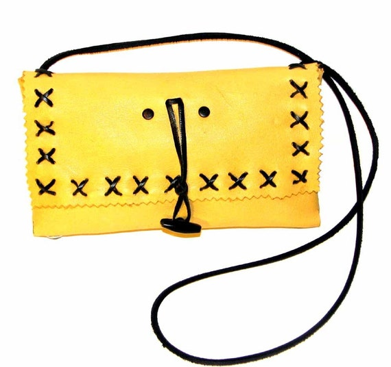 Butter Yellow Deerskin Cross Stitched Clutch and Shoulder Bag ON SALE Handmade